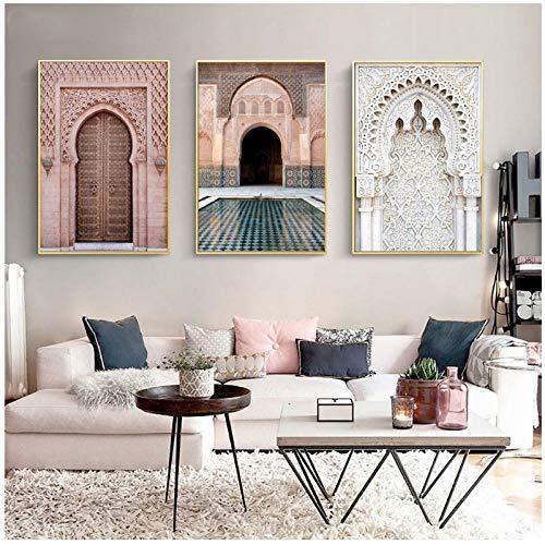 xwlljkcz 3 Stück Marokko Tür Landschaft Religion Nordic Poster Drucke Wandkunst Leinwand Malerei Wandbilder Für Wohnzimmer Wohnkultur 40X60 cm Ungerahmt