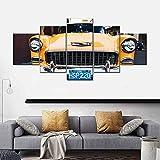 WNQMY Impresiones En Lienzo HD Decoración del Hogar Cartel Impreso Lienzo Moderno Sala De Estar 5 Paneles Taxi Cubano Pared Arte Pintura