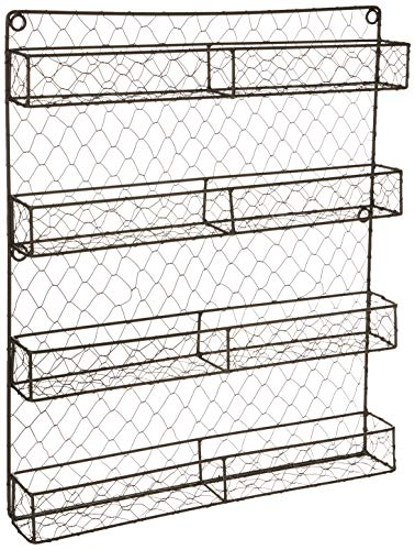 DII Z01445 Vintage Mounted Chicken Wire Organizer for Kitchen Wall Pantry or Cabinet 1694quot x 23quot x 1996quot 4 Tier Spice Rack  Rustic