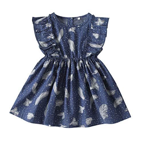 Cover Kleider für Mädchen Feder Wellenpunkt Drucken Kleid Rüschen Kurzarmkleid