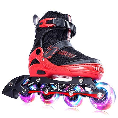 PAPAISON インラインスケート ローラースケート サイズ調整可能 発光 子供用 大人 Inline skate 女の子 男の子 初心者向 男女共用