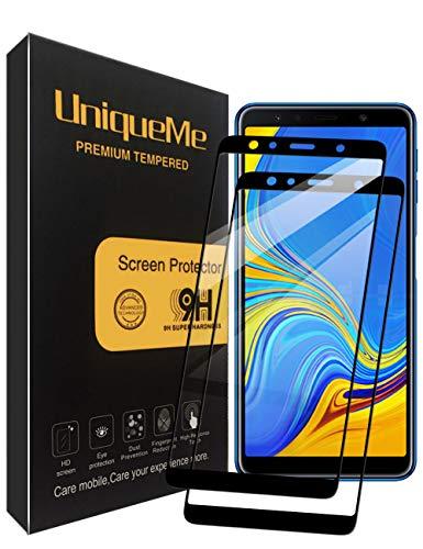 UniqueMe [2 Pack] Protector de Pantalla para Samsung Galaxy A7 2018, Vidrio Templado [ 9H Dureza ] [Sin Burbujas] HD Film Cristal Templado para Samsung Galaxy S7 con Garantía de Reemplazo de por Vida