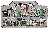 Cartel de metal con diseño de café y té en relieve de alta calidad, para cocina, puerta, decoración de 40 x 25 cm