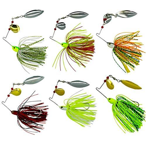 6pack Mixto Wonderfull Color Pesca Duro Spinner Cebos Kit Spinnerbait Pike Bass con Hojas Holográfico Pintado a Mano para Agua Salada Pesca
