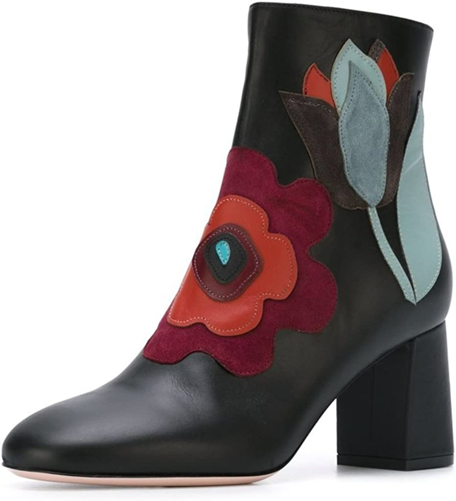 Oklahoma City Mall FSJ Women Fabulous Round Toe Max 48% OFF Ankle Floral Chunky Boots Heels Sew