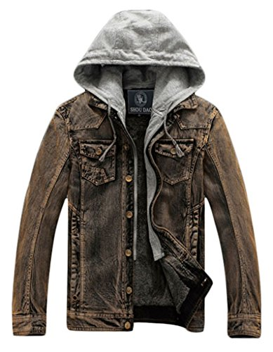 Cloudy Arch Men's Fashion Hooded Long Sleeve Washed Casual Oversize Thick Denim Jackets Naturals US Small