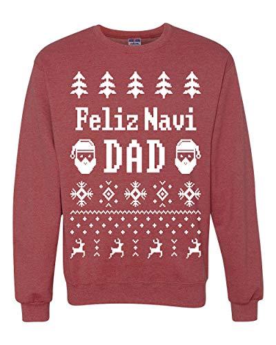 Wild Bobby Feliz Navidad Ugly Christmas Sweater Unisex Crewneck Graphic Sweatshirt, Vintage Heather Red, X-Large