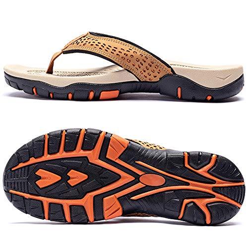 ChayChax Chanclas Hombre Sandalias Deportivo de Playa y Piscina Verano Zapatillas Flip Flops con Suela de Goma,Caqui,40 EU