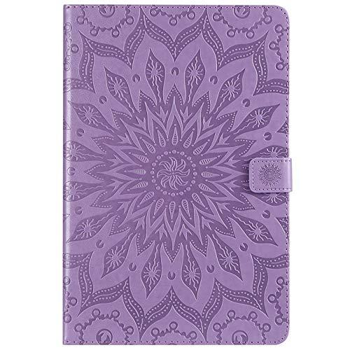 JDDR タブレットケース、 ヒマワリの印刷デザインPUレザーフリップウォレットタブレットケースカバーサムスンギャラクシータブS4 10.5インチ2018モデルSM-T830 / T835 (色 : 紫の)