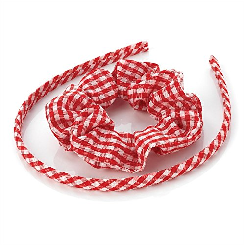 Girls Red Gingham Alice Band & Hair Scrunchie Set AJ23256 by Alice Bands