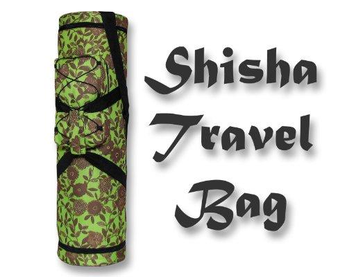 Shisha Bag - Große Tasche für Wasserpfeifen in Grün mit Blumenmotiv - Höhe - 75 cm - Big Professional - Green/Flowers