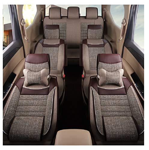 Luxe slijtvast leer en ademende linnen auto autostoelhoezen 7 zetels volledige set universele pasvorm Beige-Braun 7