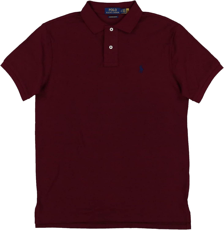 Polo Ralph Lauren Mens Custom Slim Fit Mesh Polo Shirt (X-Large, Burgundy)