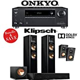 Klipsch RP-260F 3.1.2-Ch Reference Premiere Dolby Atmos Home Theater System (Piano Black) with Onkyo TX-RZ620 7.2-Channel Network A/V Receiver