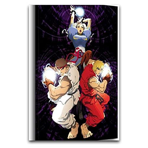 Street Fighter Chun Li y Ryu y Ken Art Canvas - Cuadro artístico moderno para decoración de pared, sin marco para póster de pintura decorativa, lienzo para sala de estar, dormitorio, pai