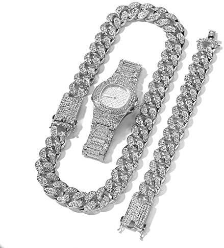 2cm Hip Hop Men Watch Necklace Bracelet Gold Sliver Color Iced Out Crystal Miami Cuban Chain product image