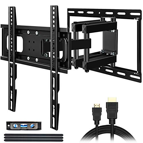 KDG TV Wall Mount Full Motion for Most 32-65 Inch Flat Curved Screen TVs,Dual Arms Articulating TV Bracket Swivel and Tilt,VESA 400X400mm Loading 121 lbs