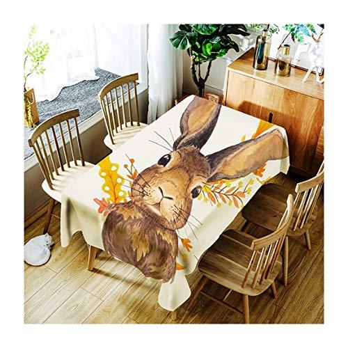 ZHAOXIANGXIANG Art Lavable Tapis De Table Fashion Leaf Pattern Lapin Décoration Maison Pique-Nique Dîner Table Cloth Impression Taille Assorties,90Cm×130Cm