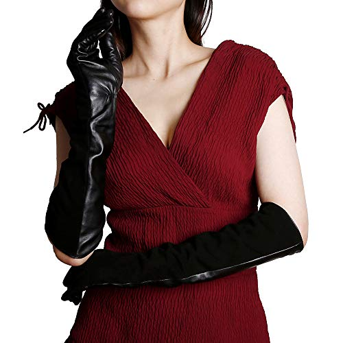 KEGE Women's Elbow Long Opera Evening Dressing Nappa Genuine Suede Leather Gloves with Texting Touchscreen