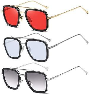 Vintage Square Sunglasses for Men Women Metal Frame Classic Downey Iron Man Tony Stark Sun Glasses Gradient Flat Lens