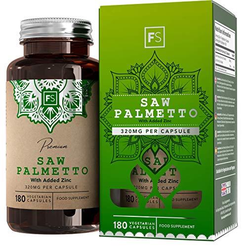 FS Sägepalmenextrakt Hochdosierte Kapseln | Saw Palmetto 320mg 20:1 Extrakt mit Zink - 180 Vegane Kapseln Für Prostata Gesundheit | Milch, Gluten und Allergen Frei | Nicht GVO | ISO-Zertifiziert
