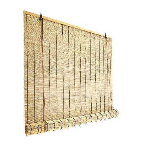 Persiana Bambu Exterior Color Natural - Cortina De Paja Estores Enrollables - Ecological Sunshade Partition Curtain - Reed Roller Blinds Pantalla De Privacidad, para Jardín, Patio, Balcón