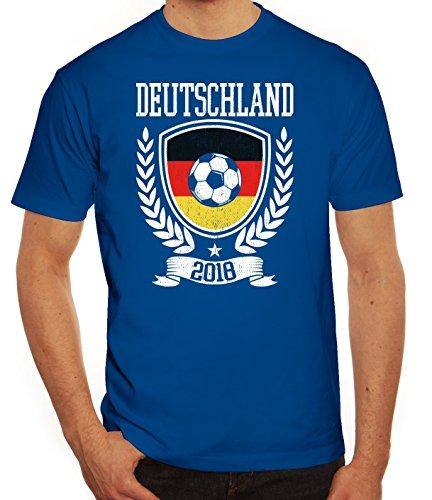 Germany Fußball WM Fanfest Gruppen Fan Herren Männer T-Shirt Rundhals Pokal Deutschland 2018, Größe: S,Royal Blau