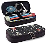 XCNGG Estuche para lápices neceser Halloween Skull Soldiers Large Capacity Stationery Bag Basic Pencil Cases