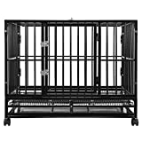 SmithBuilt 42' Large Heavy-Duty Dog Crate Cage - Two-Door Indoor Outdoor Pet & Animal Kennel with Tray - Black
