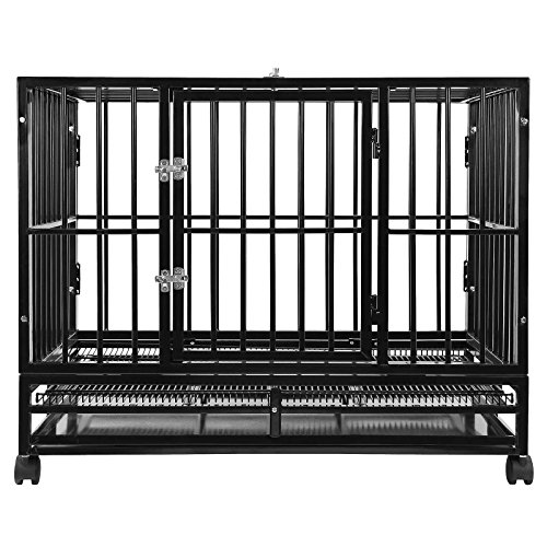 SmithBuilt 48' Extra Large Heavy-Duty Dog Crate Cage - XL Two-Door Indoor Outdoor Pet & Animal Kennel with Tray - Black