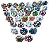 Ajuny Juego de 30 pomos de cerámica multicolor con diseño de flores, estilo vintage, pintados a mano