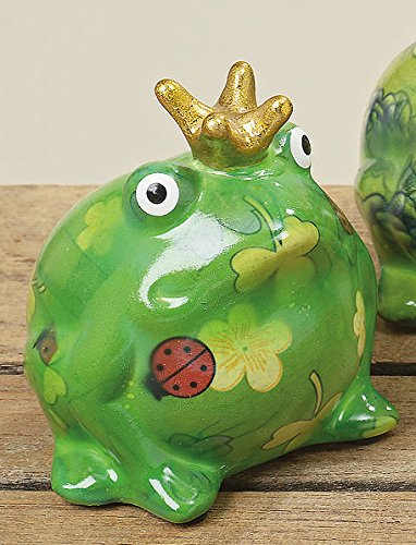 Bloominghome Spardose Froschkönig Keramik grün H10 cm