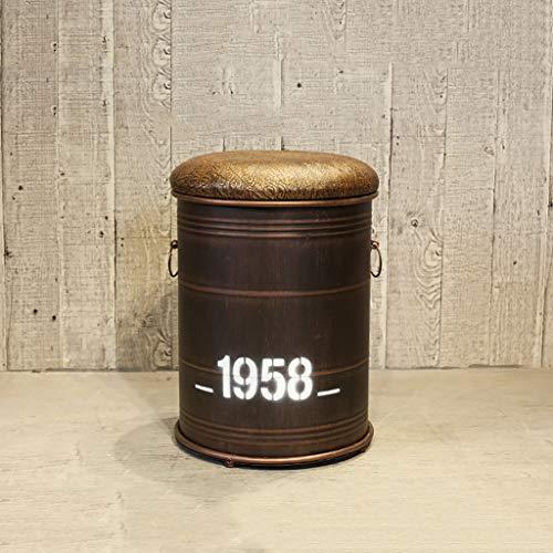 Vintage sin respaldo Industrial taburete de almacenamiento papeleras de metal redondo del taburete otomano con tapizado de cuero de la PU for la cocina, bistro, café, bar (Tamaño: 33x45cm)