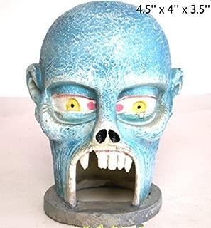 Kimoo Resin Halloween Skull Statue Sculpture Skeleton Aquarium Bookshelf Sandy Psychotherapy Ornament Fish Tank Decoration Reptile Fish Hiding Cave