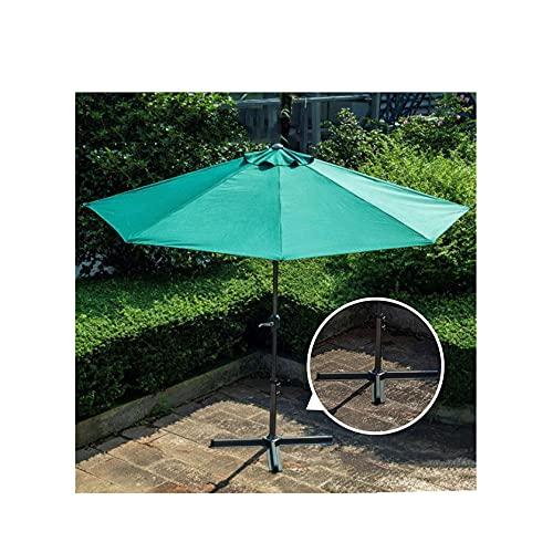 WANSE 3 m al Aire Libre Medio Paraguas toldo de poliéster sombrilla de jardín sombrilla con Mango Base Mercado Paraguas para jardín al Aire Libre terraza Patio