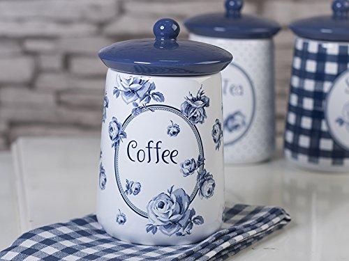 Katie Alice Vintage Indigo Stilvoller Kaffeetopf aus Keramik, mit blauem Blumenmotiv und Silikondichtung, – 16 x 9 cm