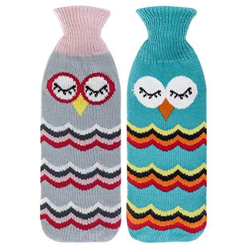 Hopeas 2 Stücke Wärmflasche mit Bezug Strickbezug Eule Wärmflasche Kinder 1 Liter Bettflasche für erwachsene Schmerzlinderung