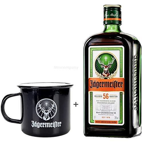 Jägermeister Kräuterlikor 0,7l (35% Vol) + Flachmann aus Edelstahl mit Schraubdeckel