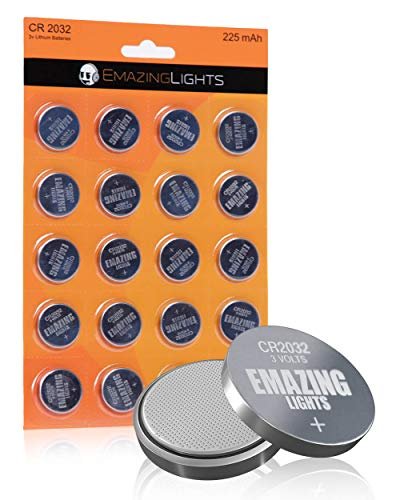 EmazingLights CR2032 Batteries 3 Volt Lithium Coin Cell 3V Button Battery (20 Pack)