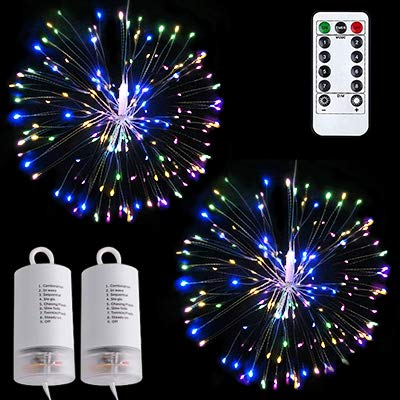 Feuerwerk Licht 120 LED Kupferdraht DIY Dekorations Lichterkette Batteriebetrieben Fernbedienung Wasserdicht 8 Modi Beleuchtungseffekt für Innen Draussen Weihnachten Party(Regenbogen Bunt, 2 Pack)