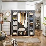 SONGMICS Kleiderschrank, Stoffschrank, mit Kleiderstange und Ablagen, Soffüberzug, für Schlafzimmer, Ankleidezimmer, 150 x 45 x 175 cm, grau LSF03G - 5