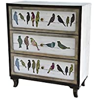 Crestview Collection Birds on a Wire 3-Drawer Painted Chest Furniture