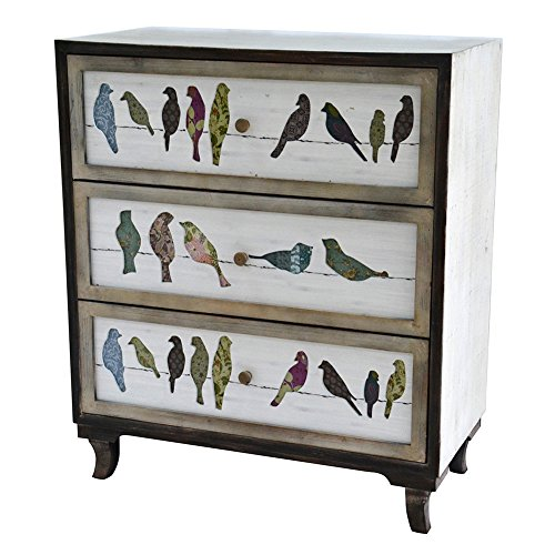 Crestview Collection CVFZR1921 Birds on a Wire 3 Drawer Painted Chest Furniture