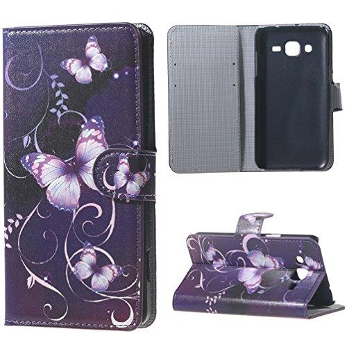 Galaxy J1Case–Custodia Flip Cover Protettiva in Pelle Wallet Case Cover per Samsung Galaxy J1SM-J100Custodia Rigida Back Cover in Stile Libro con Funzione leggio e Scomparti per Carte di Credito
