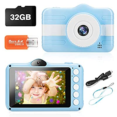 Kids Camera, Digital Camera for Kids 3-10 Year Old Dual Lens 3.5 inch Large IPS Screen Children's Video Camera with 32GB TF Card, Mini Cartoon Toy Camera for Boys Girls Gifts,Lanyard(Blue)