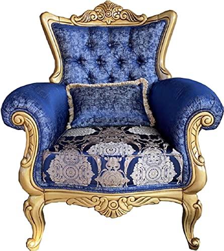 Casa Padrino sillón Barroco de Lujo Azul/Crema/Oro - Sillón de salón Hecho a Mano con patrón Elegante y cojín Decorativa - Muebles Barrocos