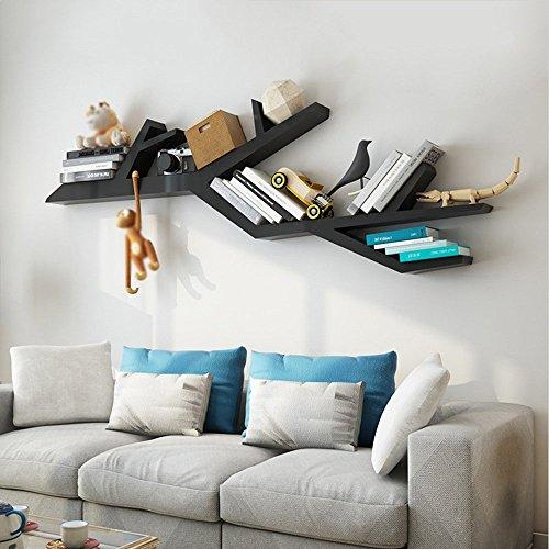 YLCJ Wandplanken MDF wandplanken Wandplanken Woonkamer Geschikte boeken Boomvorm Decoratief frame 180 cm lang (Kleur: zwart, Afmetingen: 180 * 70 cm)