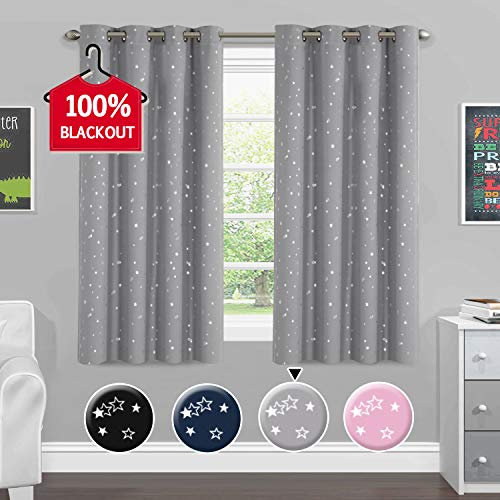 H.VERSAILTEX Blackout Curtains Kids Room Thermal Insulated Twinkle Stars Printed Curtain Draperies for Boys Girls, Sleep-Enhancing Magic Grommet Drapes, 2 Panels, Each 52x63-Inch, Gray