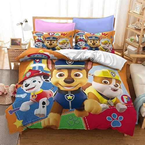 Paw Patrol, set di biancheria da letto in microfibra 3D, con federe per cuscino, morbido e confortevole (2 federe 80 x 80 cm + 1 copripiumino) (A4,230 x 260 cm + 80 x 80 cm x 2)
