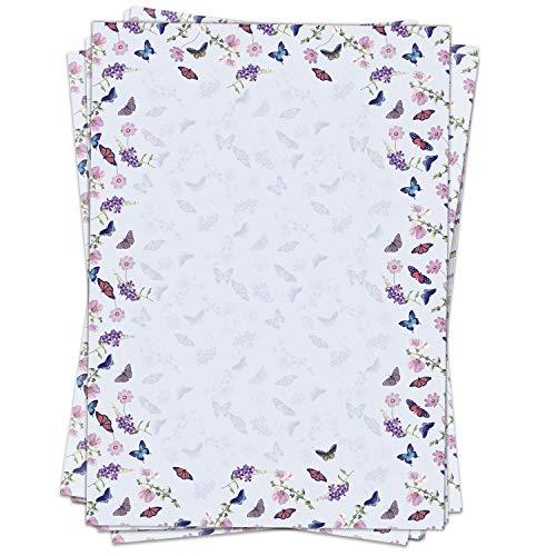 Briefpapier Motivpapier Design-Motiv Schmetterling Blumen Sommer - 50 Blatt, DIN A4 Format, Bastel-Papier beidseitig bedruckt
